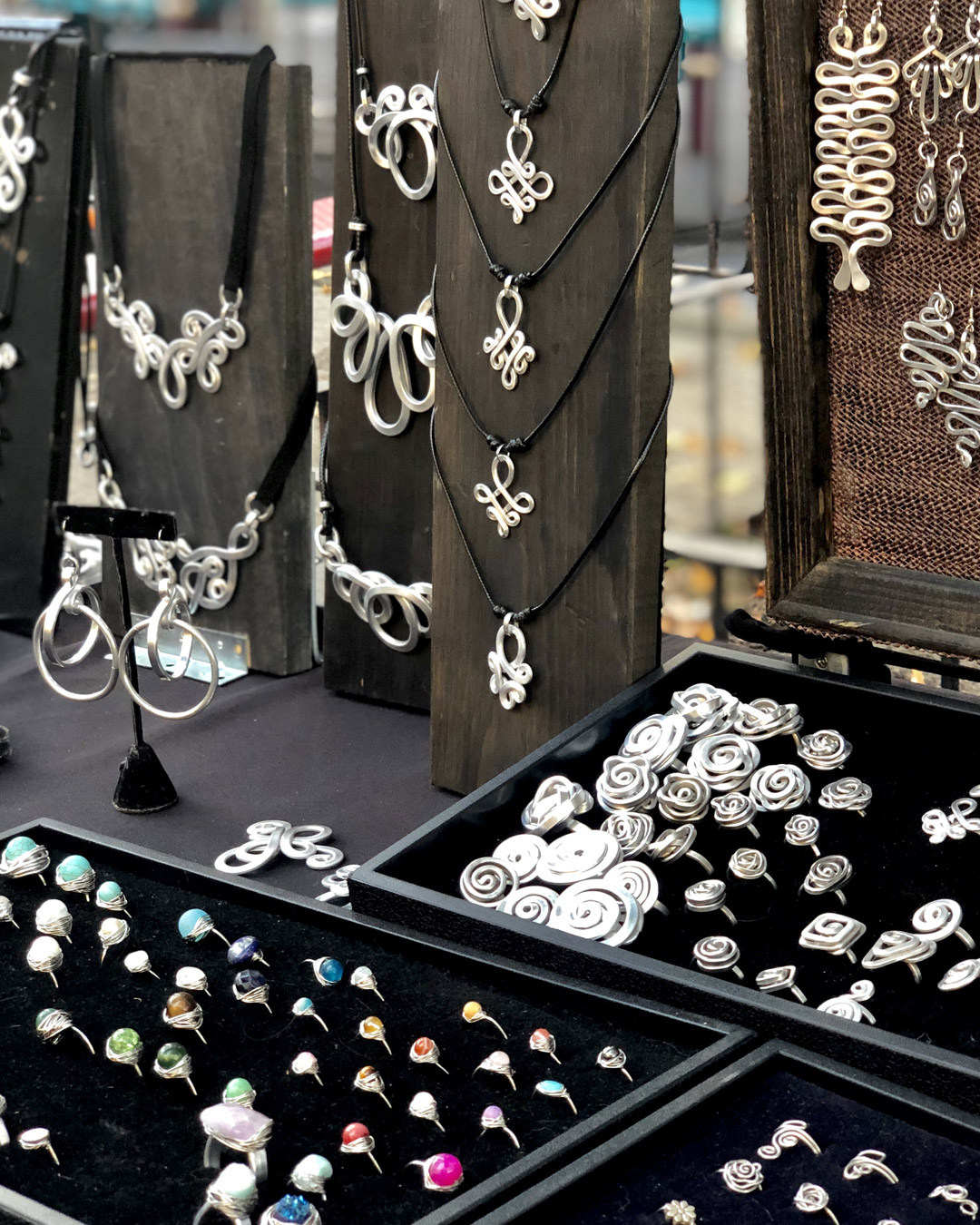 Marketplace Mogul Vendor Selilng Sterling Silver Jewelry at Park Slope 7th Avenue